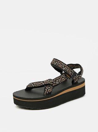 Čierne dámske vzorované sandále na platforme Teva