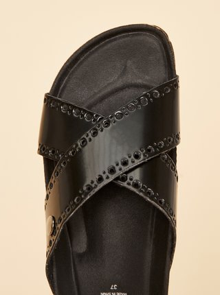Čierne dámske kožené šľapky OJJU