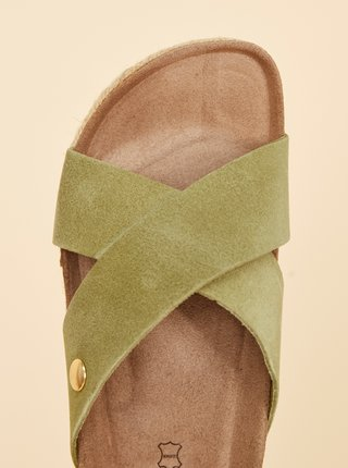 Zelené dámske semišové šľapky OJJU