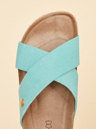 Světle modré dámské semišové pantofle OJJU