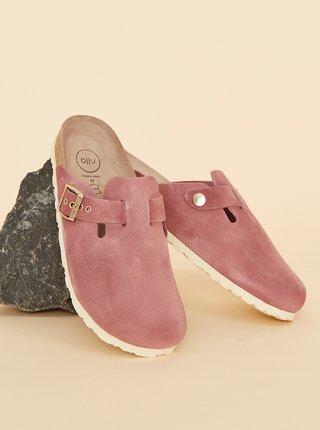 Růžové dámské semišové pantofle OJJU