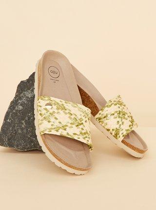 Zeleno-béžové dámské vzorované pantofle OJJU