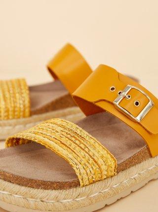 Žlté dámske kožené šľapky OJJU