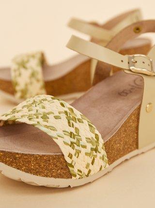Béžovo-zelené dámske sandálky na plnom podpätku JJU