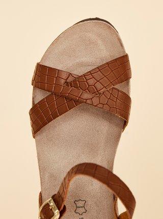 Hnedé dámske kožené vzorované sandálky na plnom podpätku OJJU