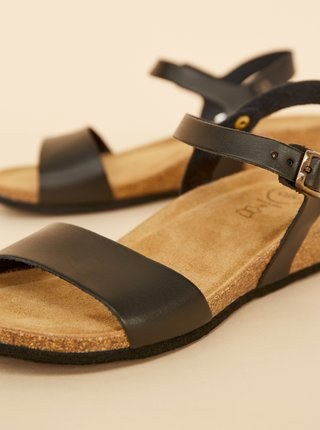 Čierne dámske kožené sandále OJJU