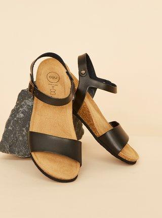 Černé dámské kožené sandály OJJU