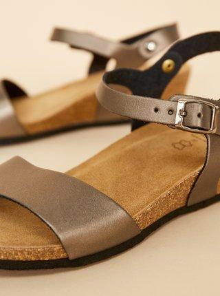 Hnědé metalické dámské kožené sandály OJJU