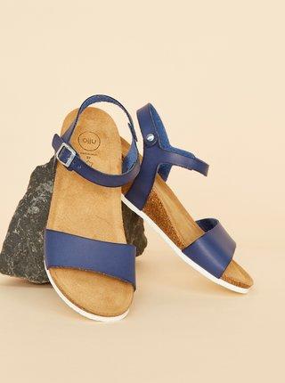 Modré dámske kožené sandálky OJJU