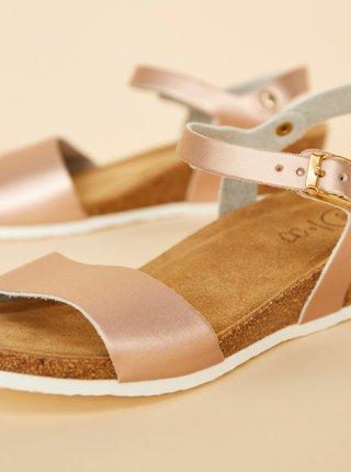 Dámské kožené sandálky v růžovozlaté barvě OJJU