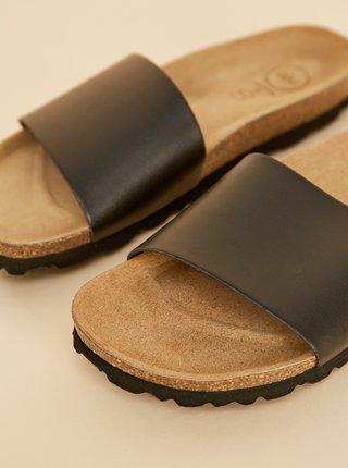 Černé dámské kožené pantofle OJJU
