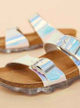 Dámské kožené metalické pantofle ve stříbrné barvě OJJU