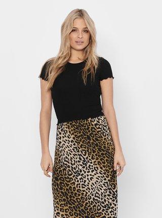 Černé žebrované krátké tričko ONLY Emma