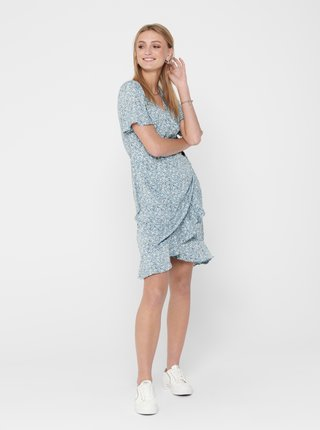 Světle modré květované zavinovací šaty ONLY Olivia