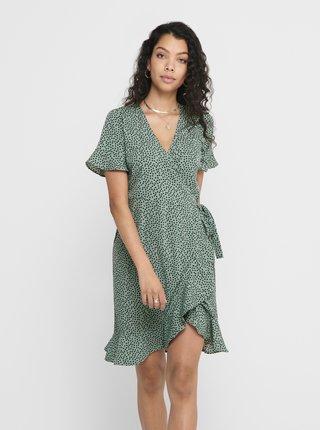 Zelené puntíkované zavinovací šaty ONLY Olivia