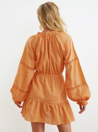 Oranžové šaty so zaväzovaním Trendyol