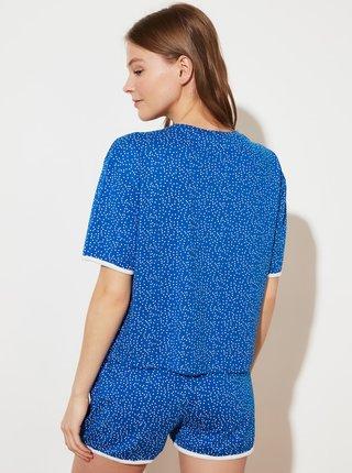 Modré dámské puntíkované krátké pyžamo Trendyol