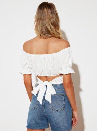 Bílá krátká halenka se zavazováním na zádech Trendyol