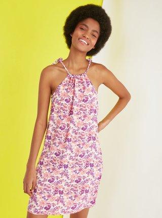 Fialové kvetované šaty Trendyol