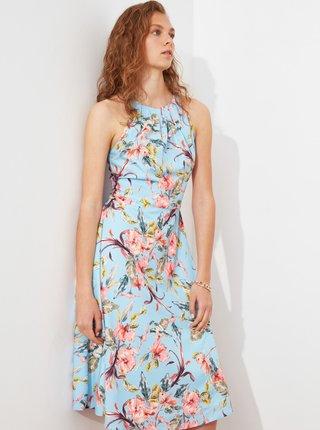 Světle modré květované šaty Trendyol