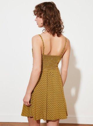Kaki bodkované šaty Trendyol