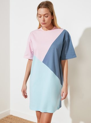 Růžovo-modré šaty Trendyol