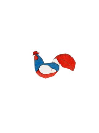 Brož France Rooster Brooch ze dřeva
