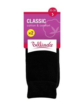 CLASSIC SOCKS 2x - Dámské bavlněné ponožky 2 páry - černá