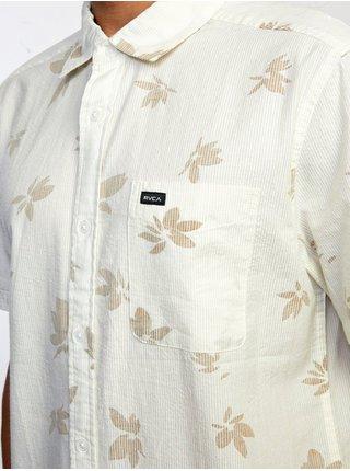 RVCA ENDLESS SEERSUCKER ANTIQUE WHITE košile pro muže krátký rukáv - bílá
