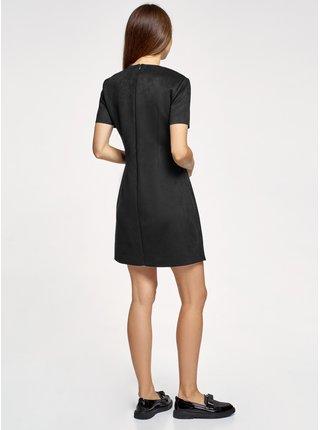 Šaty s krátkým rukávem z umělé kůže OODJI