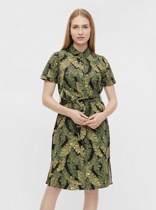 Zelené vzorované košilové šaty .OBJECT Fana
