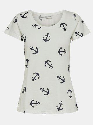 Biele vzorované tričko Jacqueline de Yong Glow