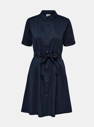 Tmavomodré košeľové šaty so zaväzovaním Jacqueline de Yong Millie