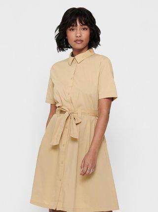 Béžové košeľové šaty so zaväzovaním Jacqueline de Yong Millie