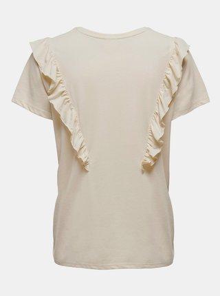 Krémové tričko s volánem Jacqueline de Yong Karen