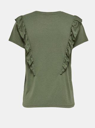 Zelené tričko s volánom Jacqueline de Yong Karen