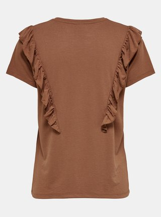 Hnedé tričko s volánem Jacqueline de Yong Karen