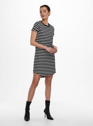 Bílo-černé pruhované basic šaty Jacqueline de Yong Ivy