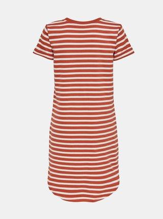 Bielo-oranžové pruhované basic šaty Jacqueline de Yong Ivy