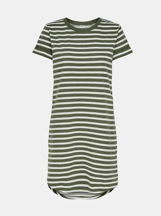 Bielo-zelené pruhované basic šaty Jacqueline de Yong Ivy