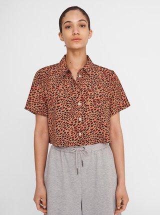 Hnědá vzorovaná krátká košile Noisy May Nika