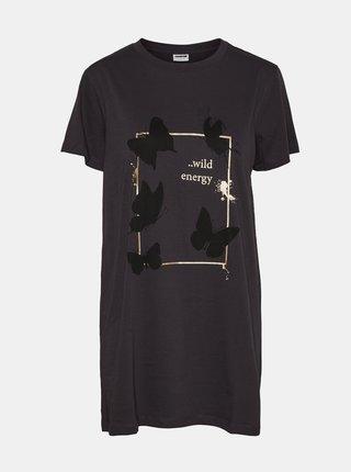 Tmavě šedé dlouhé tričko s potiskem Noisy May Zodiac