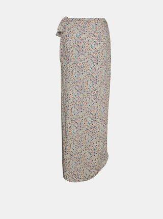 Krémová kvetovaná zavinovacia midi sukňa Noisy May Asta