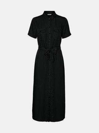 Černé košilové maxišaty se zavazováním Noisy May Cersei