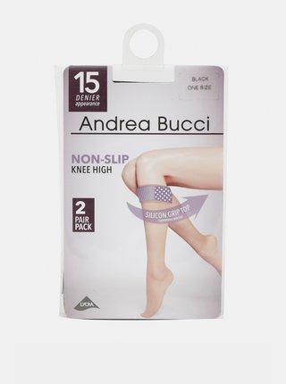 Dva páry čiernych pančuchových podkolienok Andrea Bucci 15 DEN