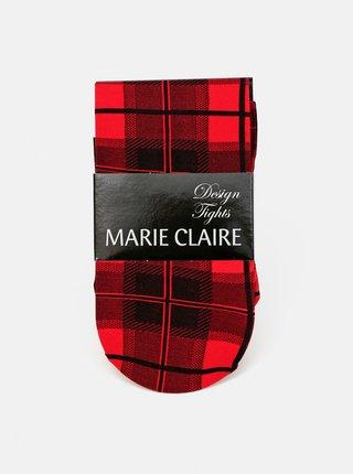 Červené kockované pančuchové nohavice Marie Claire
