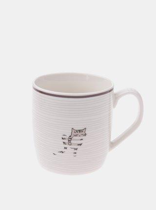 Bílý vzorovaný porcelánový hrnek Dakls