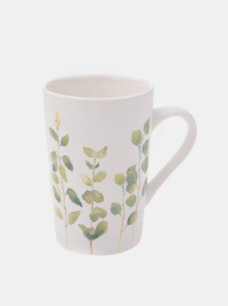 Biely kvetovaný porcelánový hrnček Dakls 370 ml
