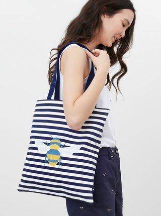 Bielo-modrá pruhovaná plátená taška s potlačou Tom Joule