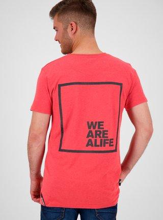 Červené pánské tričko s potiskem na zádech Alife and Kickin